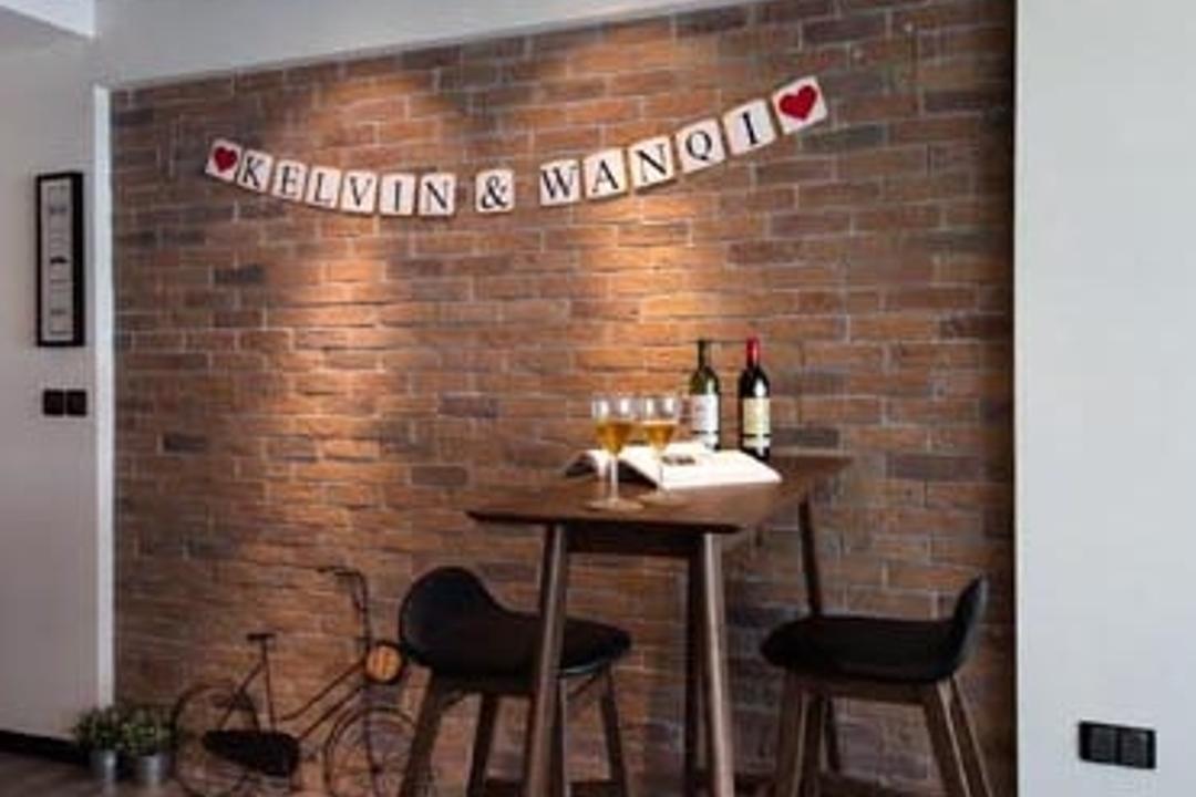 Yishun (Block 316), KDOT, Scandinavian, Dining Room, HDB, Brick Wall, Red Brick Wall, Brown Brick Wall, Bar Stool, Bar Chairs, Bar Table, Wood Floor, Dining Table, Furniture, Table, Chair