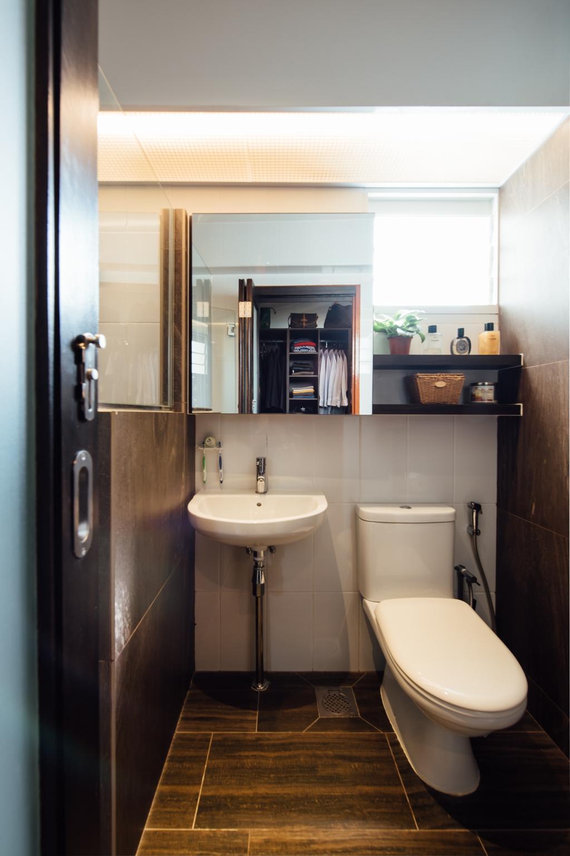 Eclectic, HDB, Bathroom, Sumang Walk, Interior Designer, Fatema Design Studio, Toilet, Sink, Closet, Furniture, Wardrobe, Indoors, Interior Design, Room