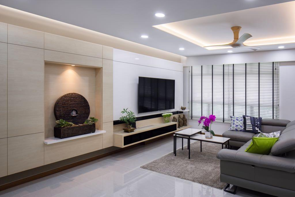 Modern, HDB, Living Room, Choa Chu Kang, Interior Designer, T&T Design Artisan, Indoors, Room, Couch, Furniture, Dining Table, Table
