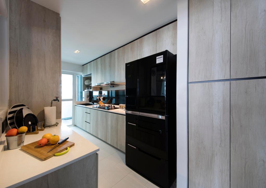 Scandinavian, HDB, Kitchen, Yishun (Block 316), Interior Designer, KDOT, Cabinets, Laminate, Fridge, Hood, Stove, Tiles, Black Fridge, Industrial, Drawers