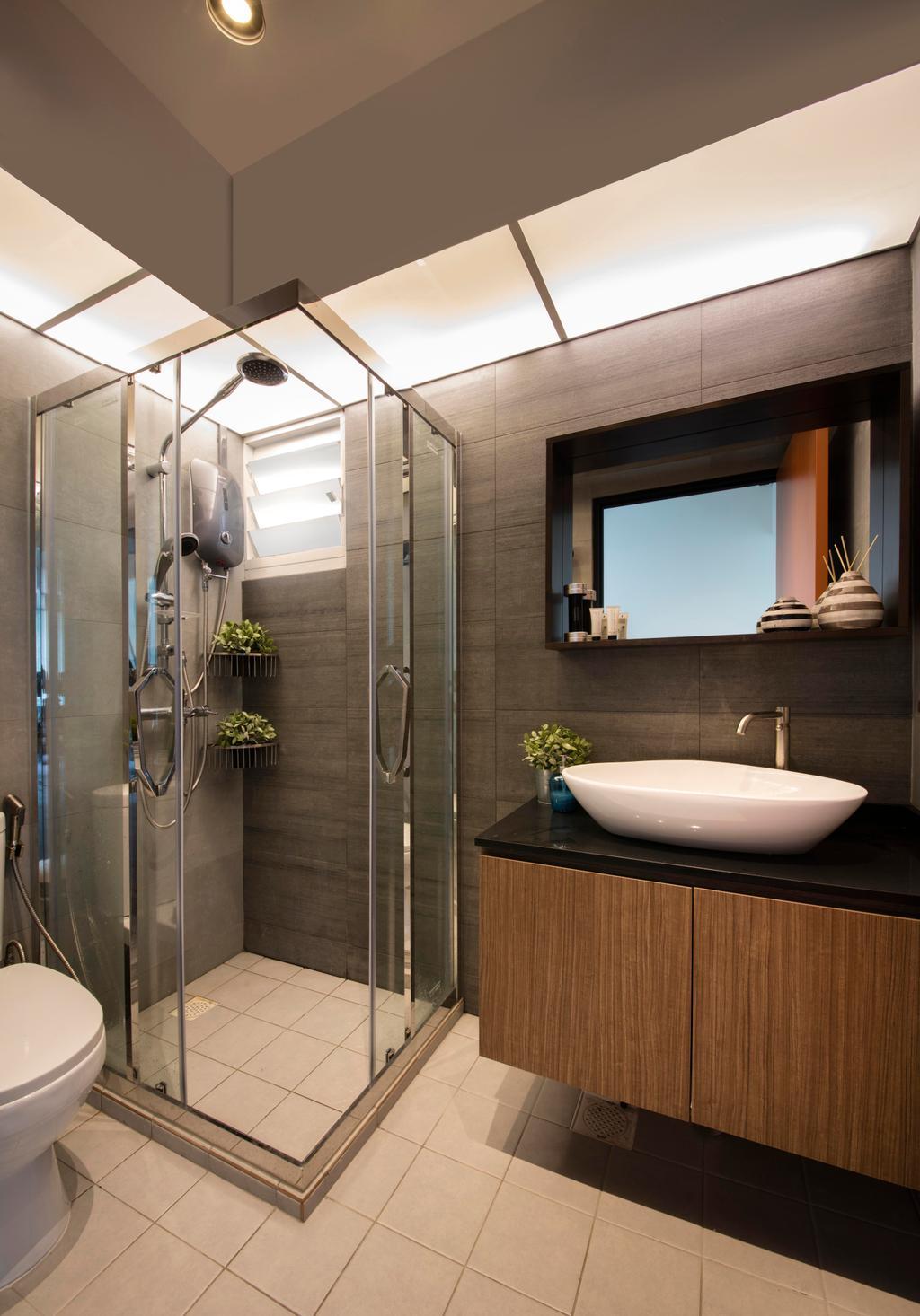 Scandinavian, HDB, Bathroom, Yishun (Block 316), Interior Designer, KDOT, Sink, Cabinets, Tiles, Wall Tiles, Shower Screen, Toilet Bowl, Mirror, Bowl, Indoors, Interior Design, Room