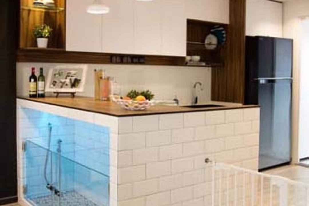 Hougang, KDOT, Contemporary, Kitchen, HDB, Wood Floor, Wall Tiles, Display Cabinets, Kompac, Cabinets, Fridge, Dish Rack, Hanging Lights