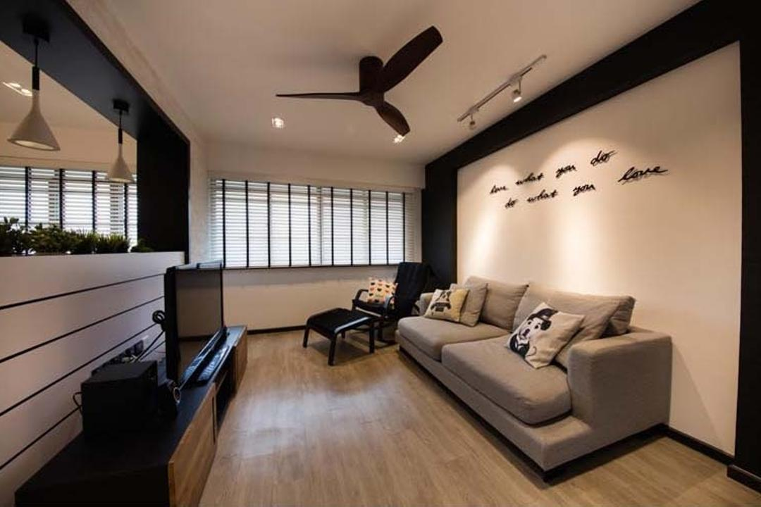 Hougang, KDOT, Contemporary, Living Room, HDB, Sofa, Wall Wordings, Wood Floor, Arm Chair, Tv Console, Tv, Partition, Ceiling Fan, Down Light, Track Lights, Blinds, Recessed Lights, Modern Contemporary Living Room, Indoors, Interior Design, Room