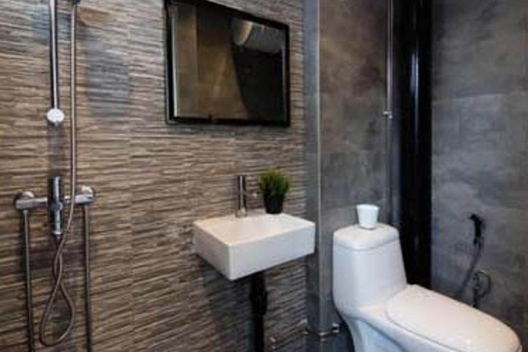Hougang, KDOT, Contemporary, Bathroom, HDB, Toilet Bowl, Water Hose, Shower, Sink, Mirror, Wall Tiles, Floor Tiles, Indoors, Interior Design, Room