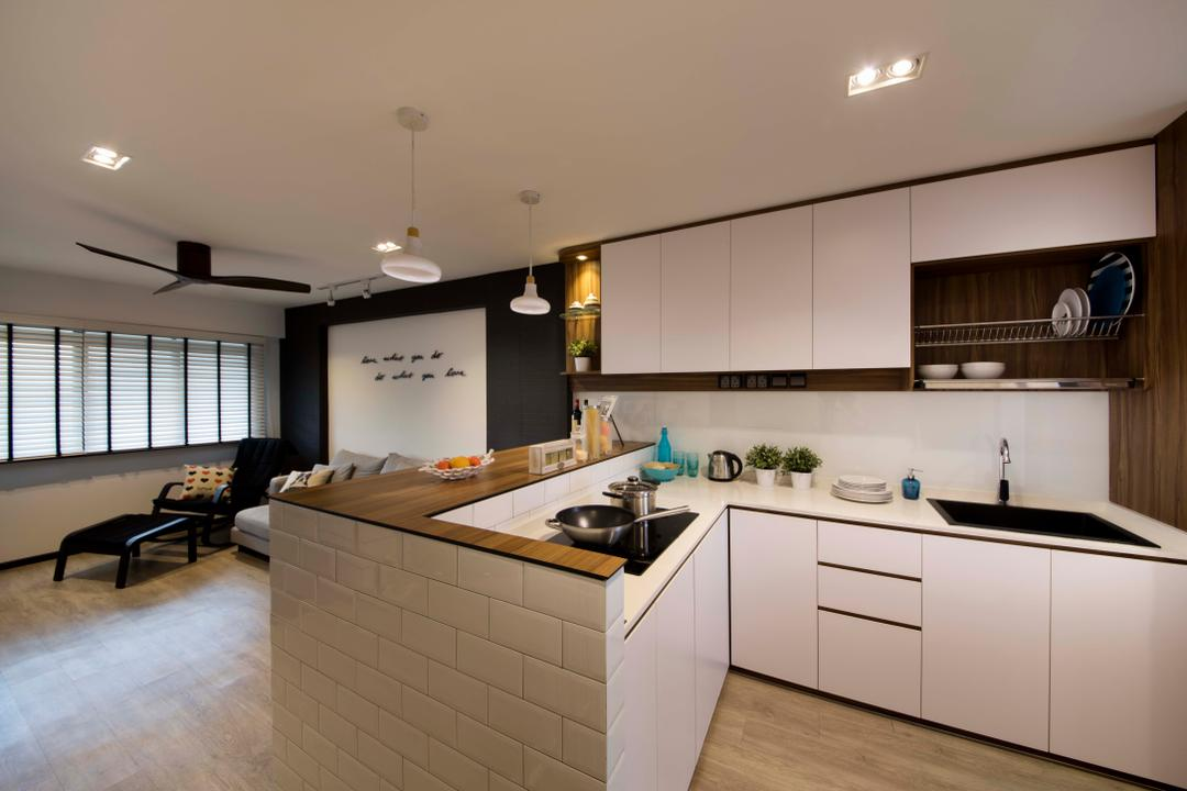 Hougang, KDOT, Contemporary, Kitchen, HDB, Down Lights, Deiling Fan, Wall Tiles, Cabinets, Drawers, Sink, Dish Rack, Dry Kitchen, Wood Floor, Hanging Lights, Indoors, Interior Design, Room, Flooring