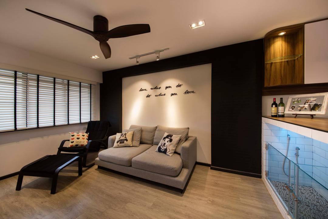 Hougang, KDOT, Contemporary, Living Room, HDB, Ceiling Fan, Wood Floor, Arm Chair, Sofa, Wall Wordings, Track Lights, Down Light, Disply Cabinet, Blinds, Couch, Furniture, Indoors, Interior Design, Chair