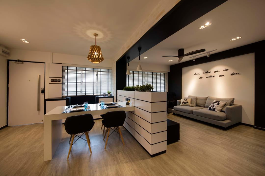 Hougang, KDOT, Contemporary, Living Room, HDB, Partition, Sofa, Wall Wording, Dining Table, Dining Chairs, Wood Floor, Ceiling Fan, Down Light, Track Lights, Dining Light, Hanging Light, Blinds, Indoors, Interior Design, Light Fixture, Furniture, Table, Chair, Flooring