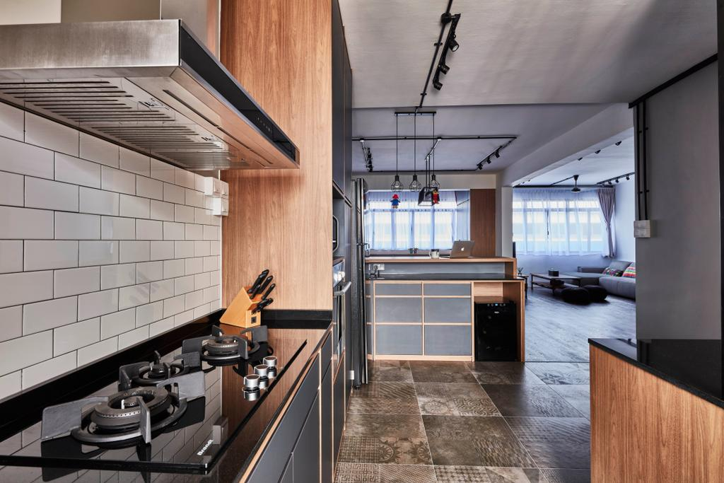 Modern, HDB, Kitchen, Yishun Street 81, Interior Designer, Voila, Industrial, Hardwood, Stained Wood, Wood, Indoors, Interior Design