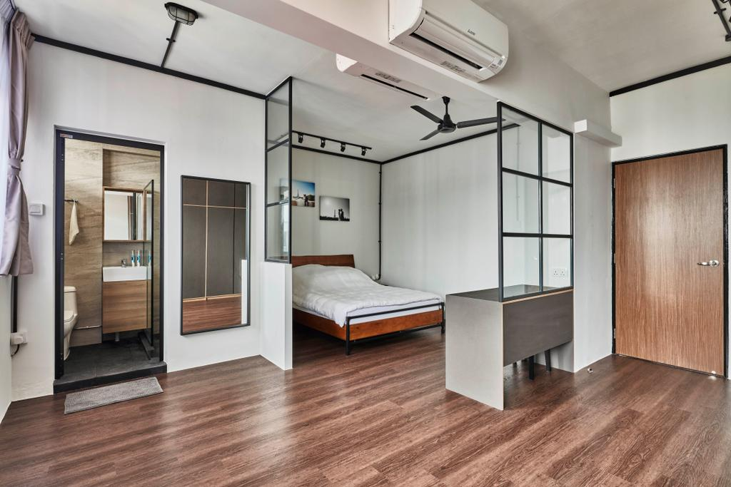 Modern, HDB, Bedroom, Yishun Street 81, Interior Designer, Voila, Industrial, Flooring, Bed, Furniture
