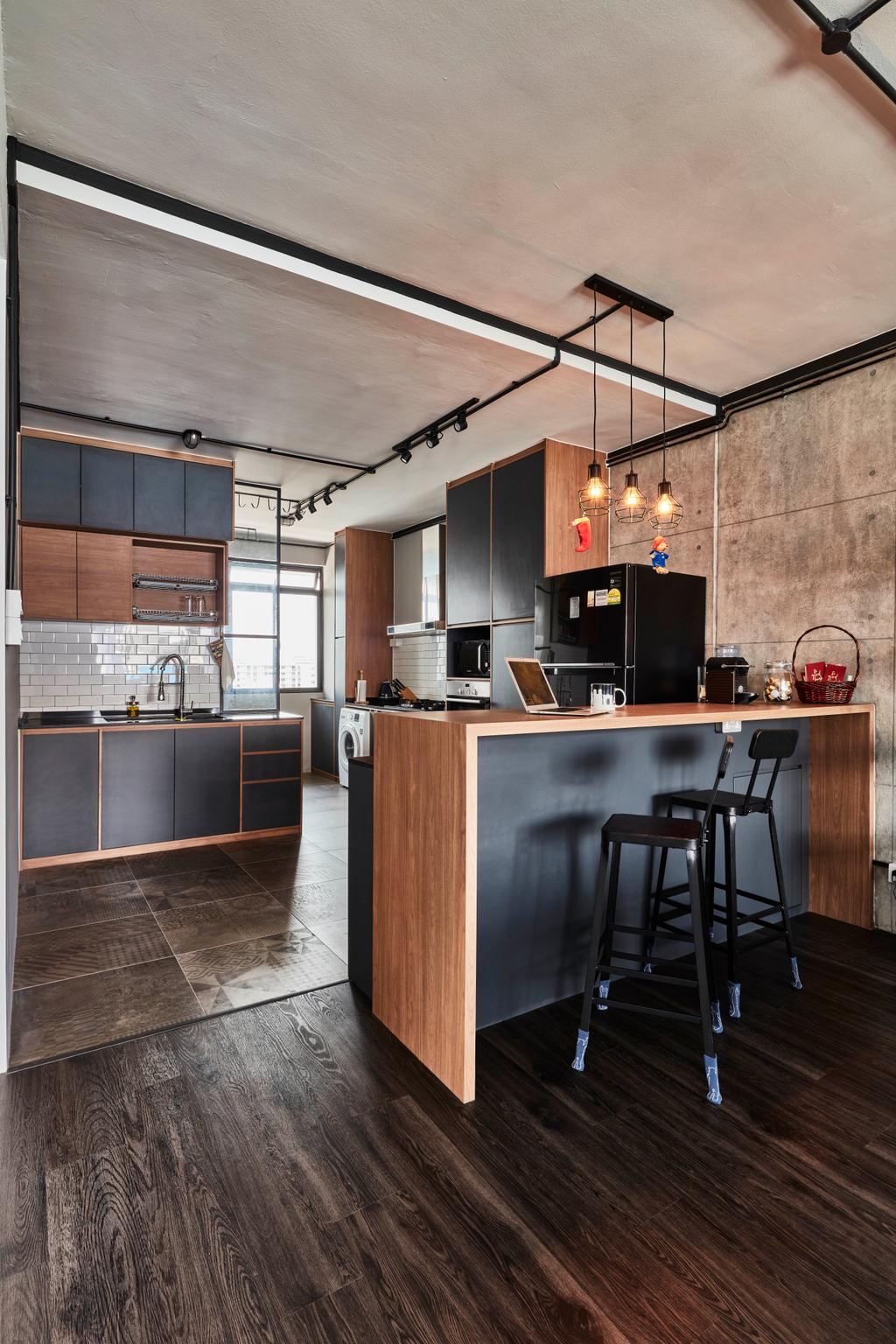 Modern, HDB, Dining Room, Yishun Street 81, Interior Designer, Voila, Industrial, Indoors, Interior Design, Kitchen, Room, Chair, Furniture, Sideboard