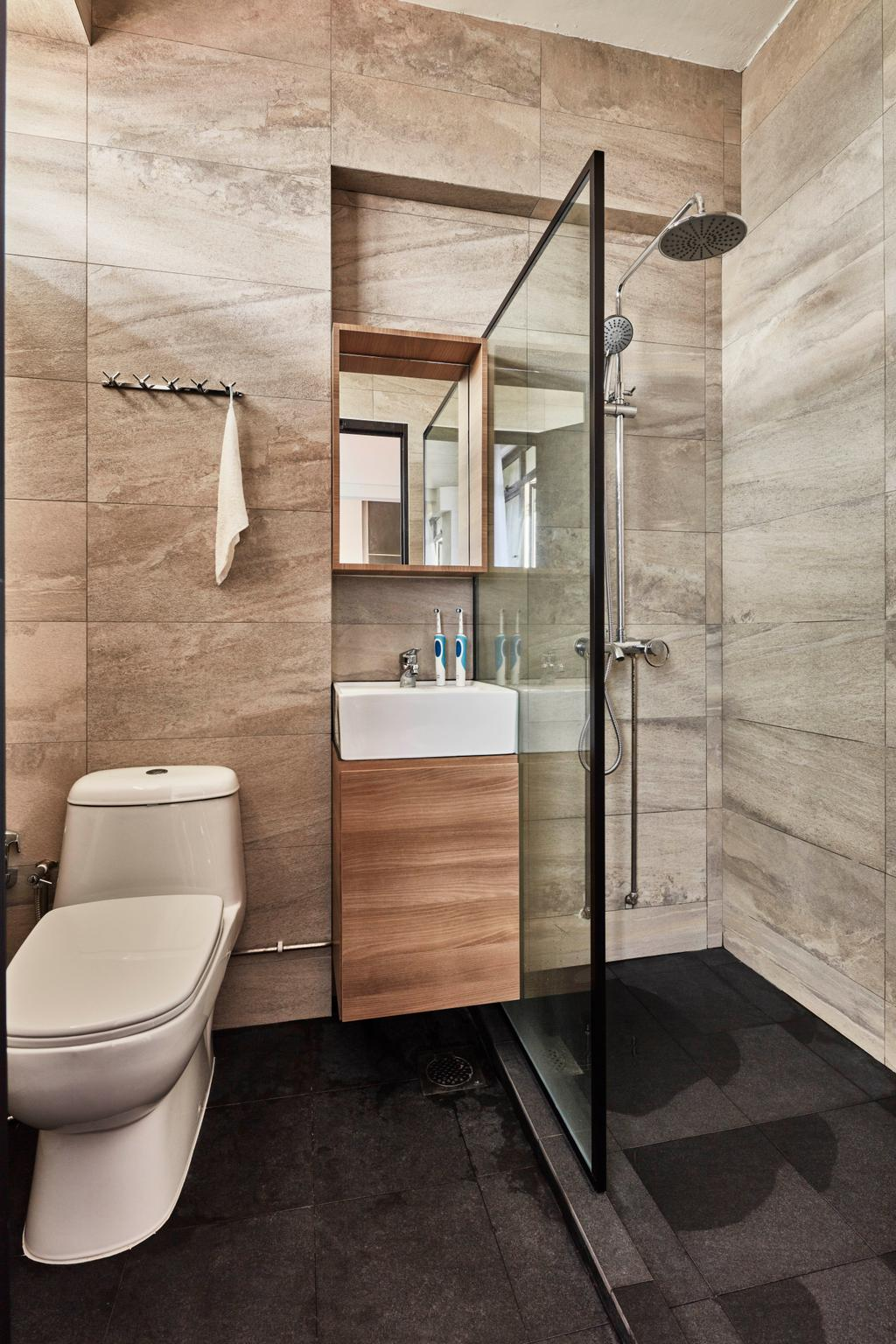 Modern, HDB, Bathroom, Yishun Street 81, Interior Designer, Voila, Industrial, Indoors, Interior Design, Room, Towel