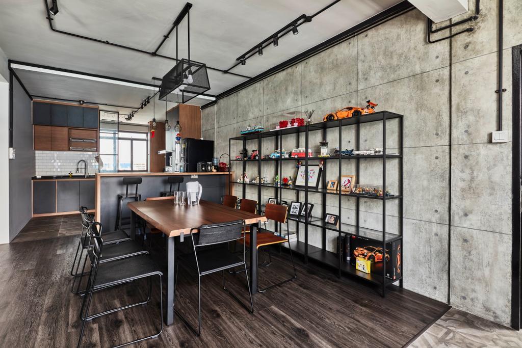 Modern, HDB, Dining Room, Yishun Street 81, Interior Designer, Voila, Industrial, Indoors, Interior Design, Kitchen, Room, Chair, Furniture, Dining Table, Table, Building, Housing, Loft