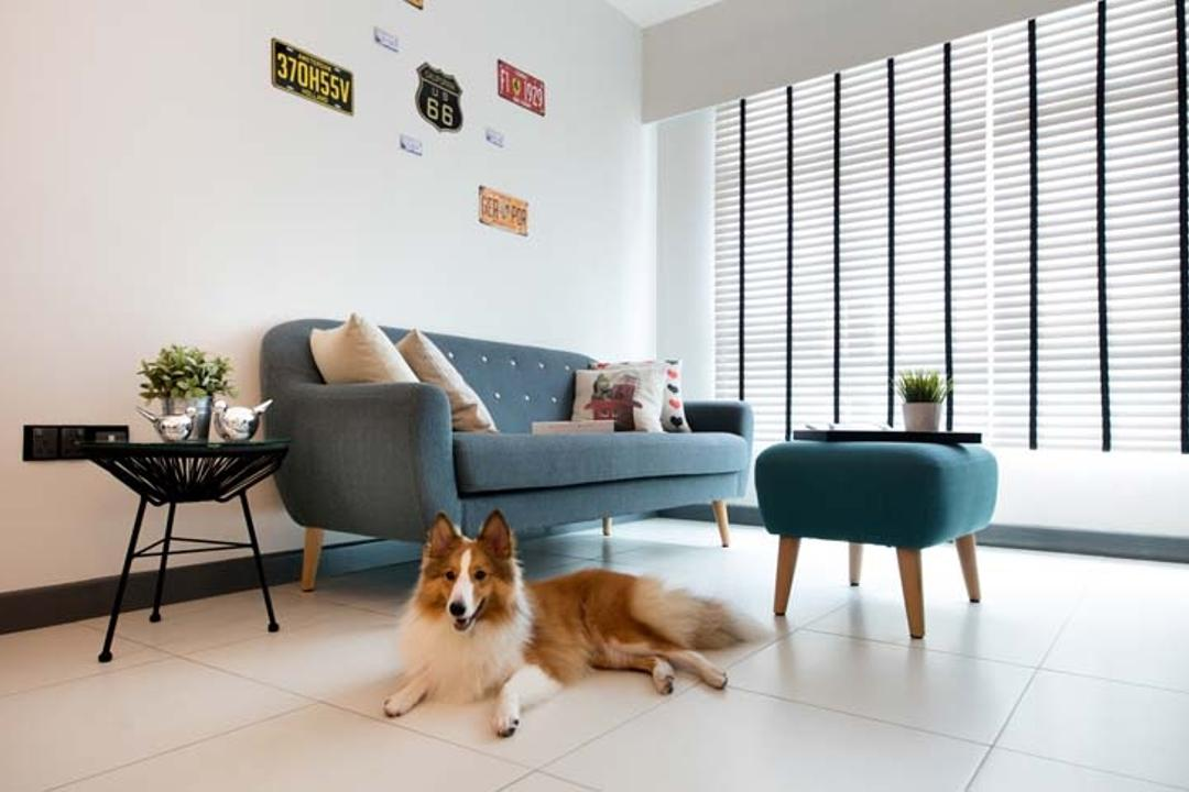 Yishun (Block 317), KDOT, Scandinavian, Living Room, HDB, Blinds, Sofa, Tiles, Coffee Tbale, Side Tbale, Ottoman, Industrial, Couch, Furniture, Animal, Canine, Collie, Dog, Mammal, Pet, Dining Table, Table, License, License Plate, Text, Cat, Manx