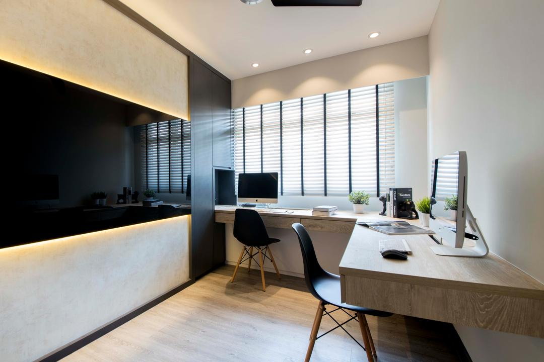 Yishun (Block 317), KDOT, Scandinavian, Bedroom, HDB, Ceiling Fan, Cabinets, Study Desk, Chairs, Wood Floor, Blinds, Mac, Chair, Furniture, Building, Housing, Indoors, Loft, Dining Table, Table, Interior Design, Dining Room, Room
