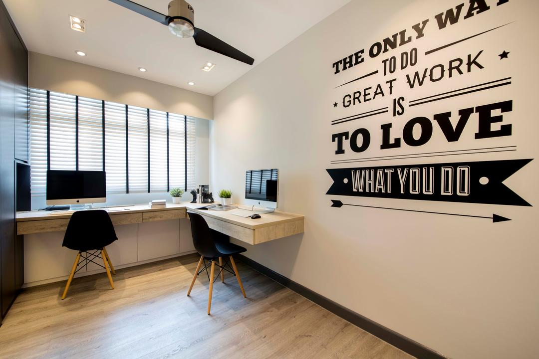 Yishun (Block 317), KDOT, Scandinavian, Bedroom, HDB, Wall Sticker, Study Desk, Chairs, Ceiling Fan, Blinds, Mac, Wood Floor, Cabinets, Down Light, Desk, Furniture, Table, Indoors, Interior Design, Office