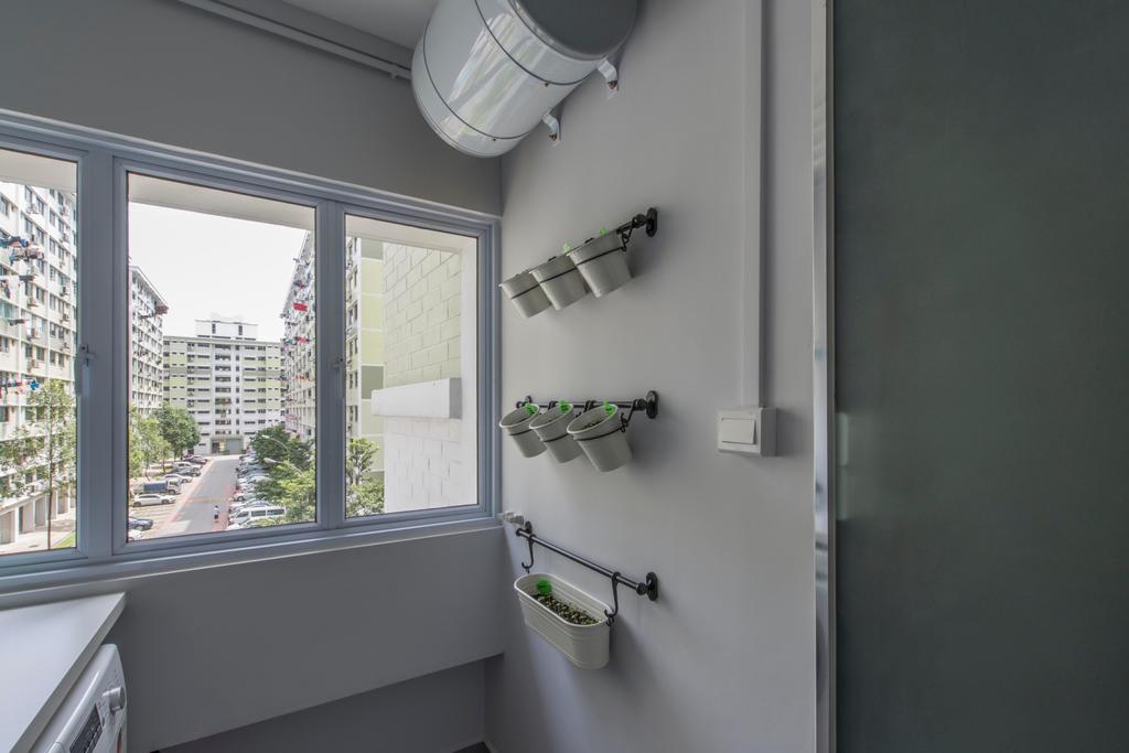 Contemporary, HDB, Kitchen, Jurong West, Interior Designer, Third Avenue Studio, Planters, Wall Planters, Vertical Garden, Seeding, Wall Garden, Bathtub, Tub, Sink