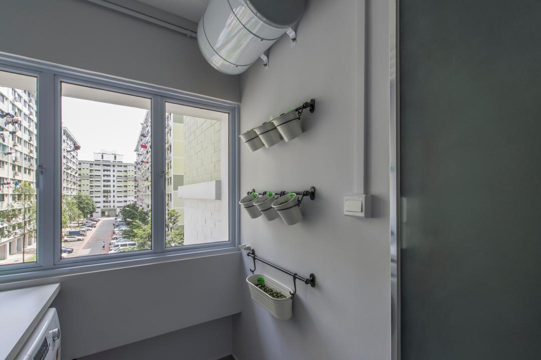Jurong West, Third Avenue Studio, Contemporary, Kitchen, HDB, Planters, Wall Planters, Vertical Garden, Seeding, Wall Garden, Bathtub, Tub, Sink