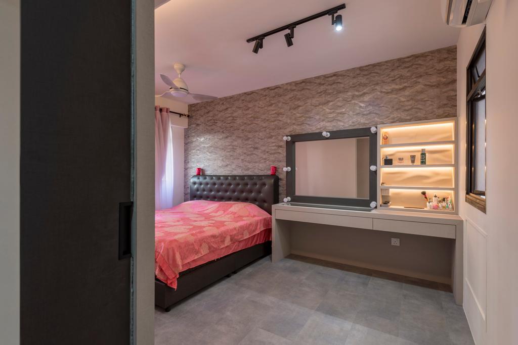 Modern, HDB, Bedroom, Choa Chua Kang Drive, Interior Designer, MET Interior, Bed, Furniture, Indoors, Interior Design, Room, Electronics, Entertainment Center, Home Theater