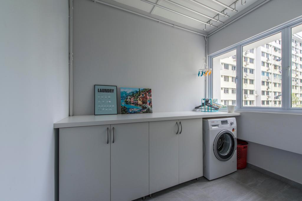 Contemporary, HDB, Kitchen, Jurong West, Interior Designer, Third Avenue Studio, Service, Yard, Laundry Room, Servicette, Service Yard, Laundry, Washing Machine, Clothes Rack, Appliance, Electrical Device, Washer