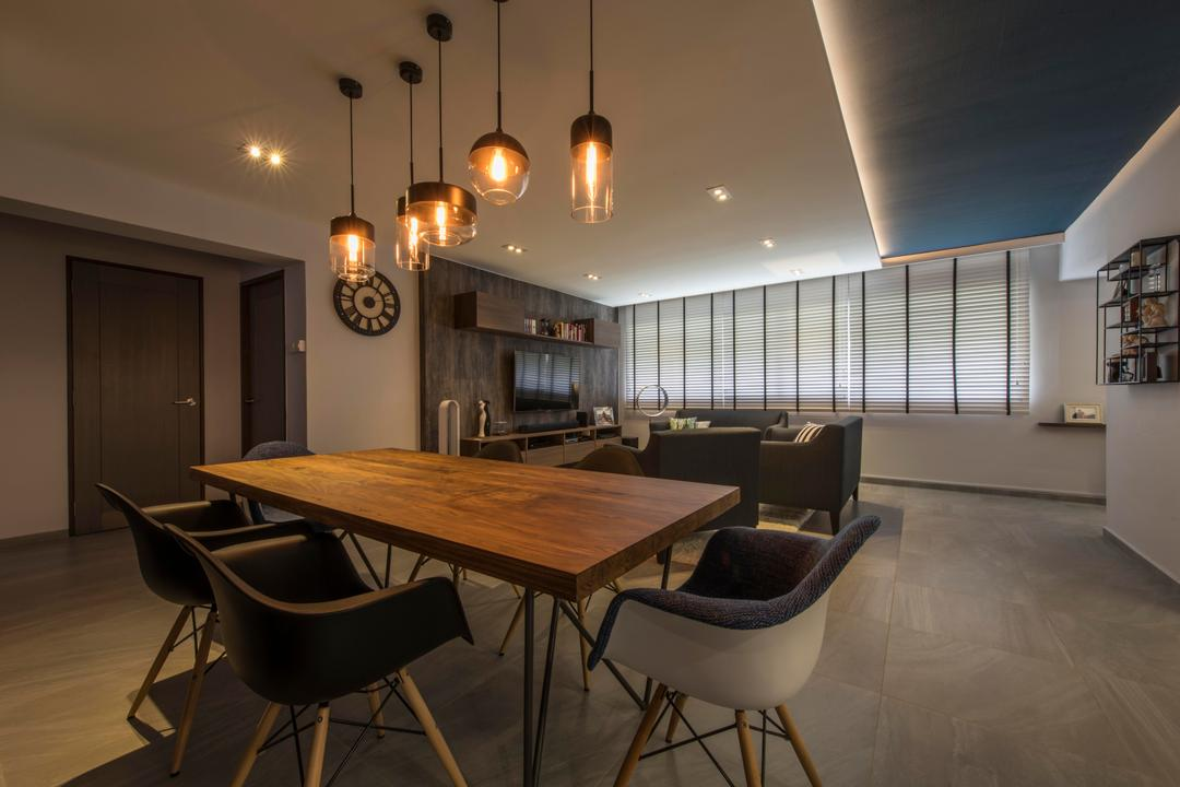 Jurong West, Third Avenue Studio, Contemporary, Dining Room, HDB, Natural Wood, Dining Table, Pendant Lamp, Pendant Lights, Exposed Bulb, Chair, Furniture, Building, Housing, Indoors, Loft, Interior Design, Room, Table