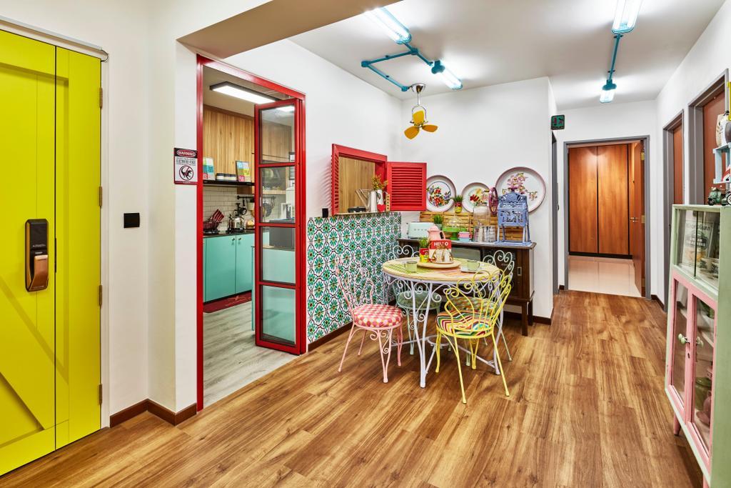 Eclectic, HDB, Dining Room, Fernvale Link, Interior Designer, Voila, Retro, Hardwood, Wood, Dining Table, Furniture, Table
