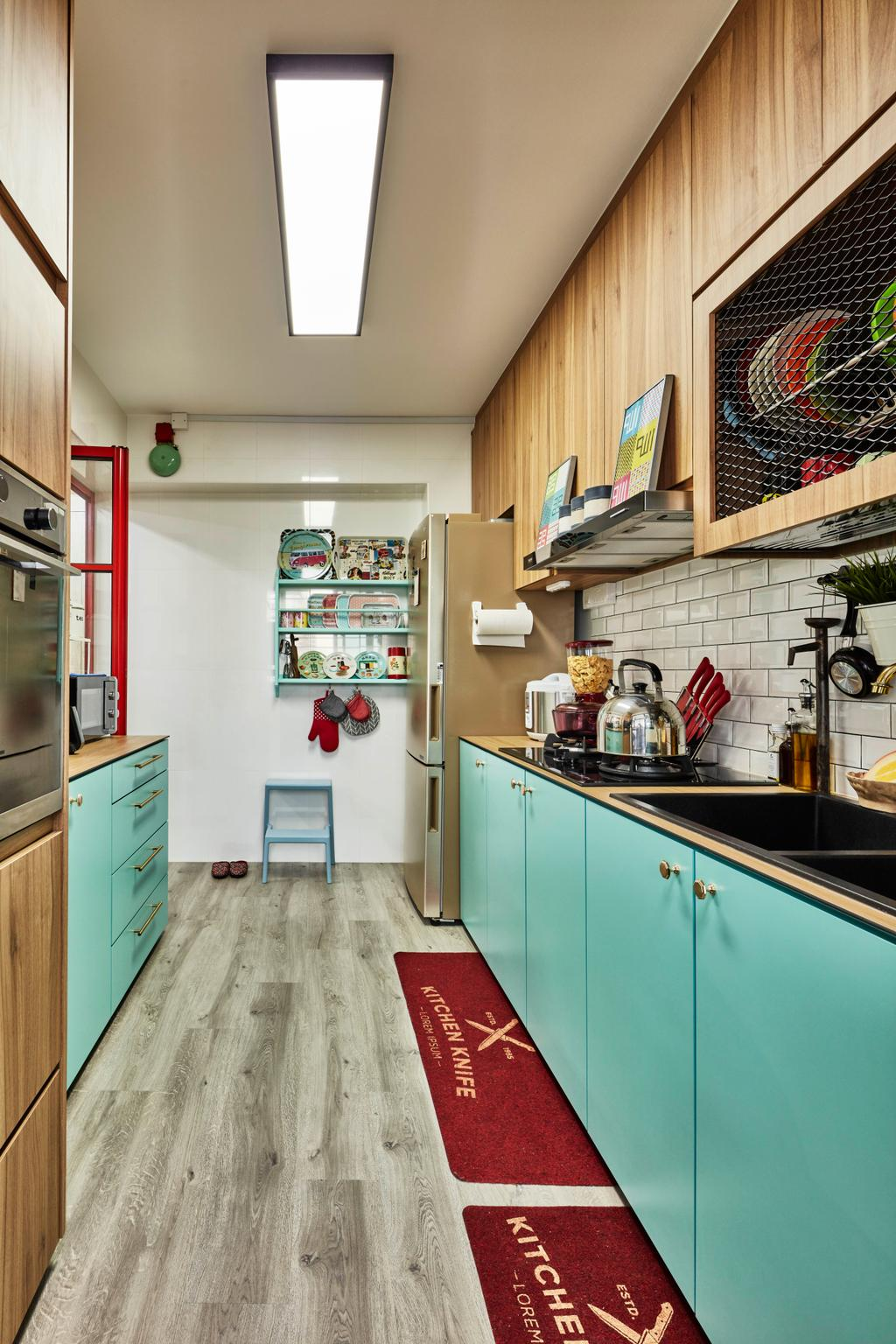 Eclectic, HDB, Kitchen, Fernvale Link, Interior Designer, Voila, Retro, Shelf
