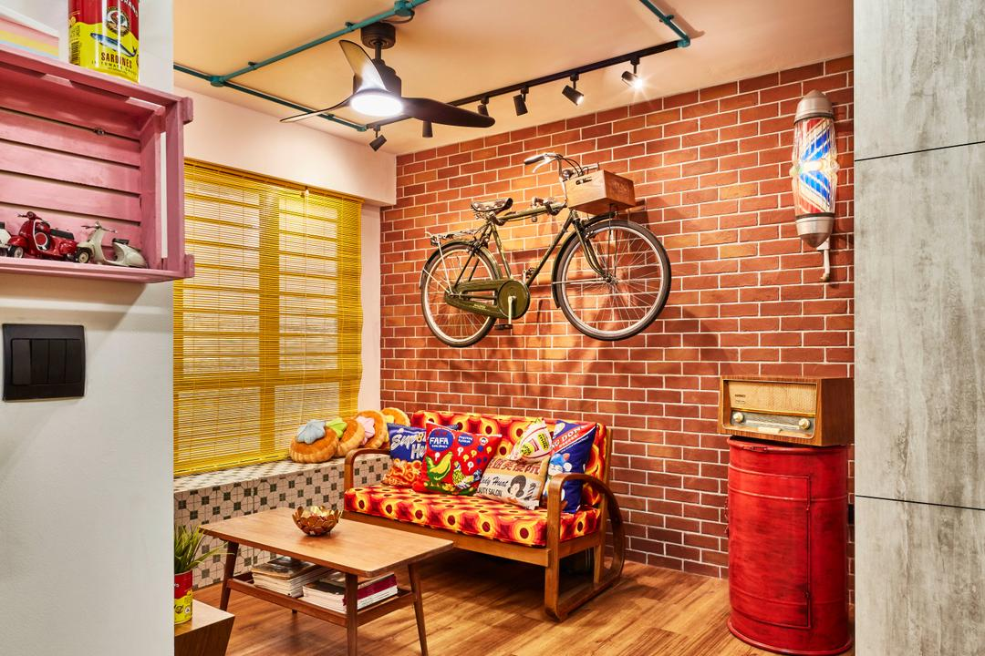 Fernvale Link, Voila, Eclectic, Retro, Living Room, HDB, Light Fixture, Brick
