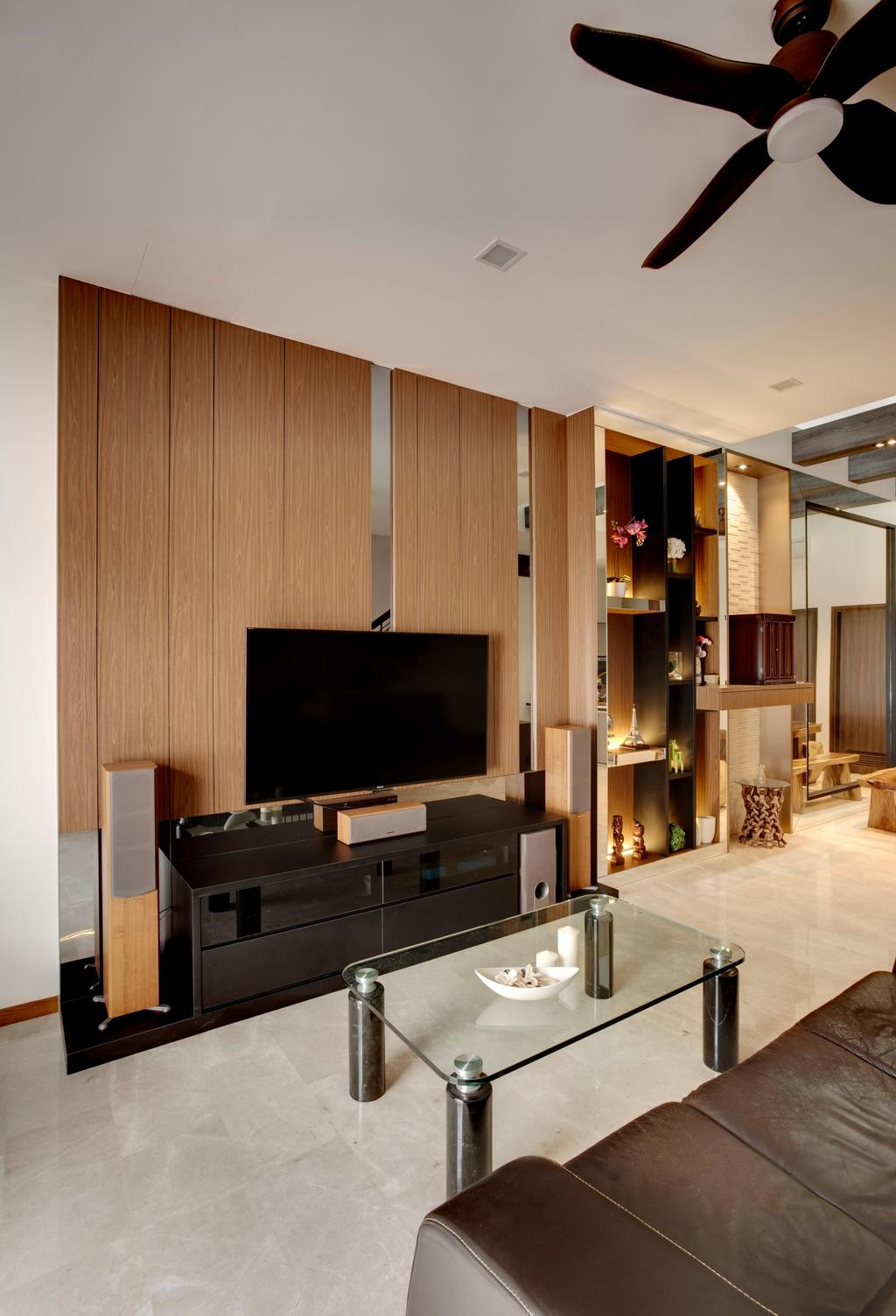Modern, Condo, Living Room, The Springside, Interior Designer, The Orange Cube, Electronics, Entertainment Center, Home Theater, Lcd Screen, Monitor, Screen, Appliance, Electrical Device, Oven