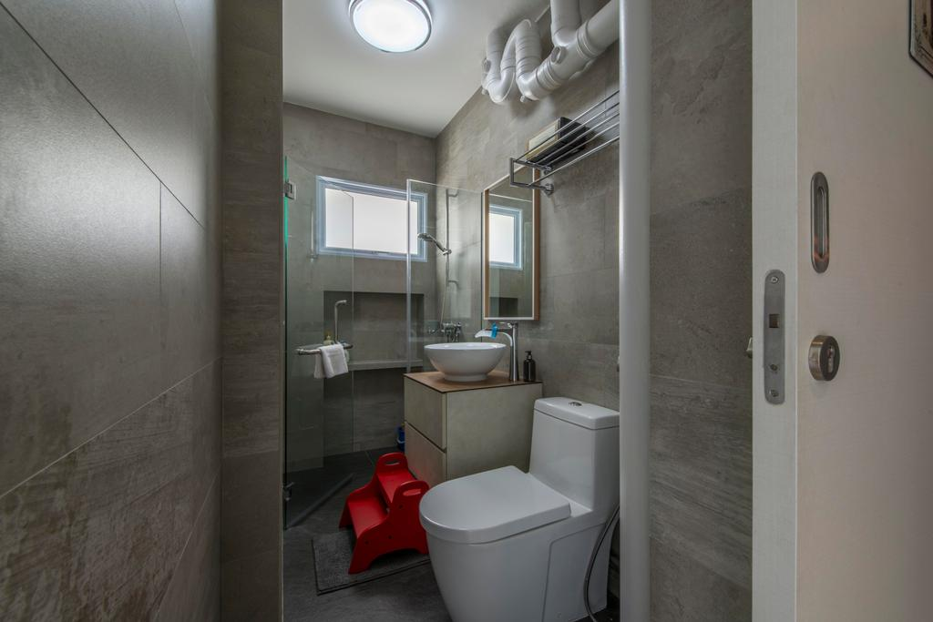 Contemporary, HDB, Bathroom, Jurong West, Interior Designer, Third Avenue Studio, Tiles, Vanity Sink, Kids Stool, Toilet, Indoors, Interior Design, Room