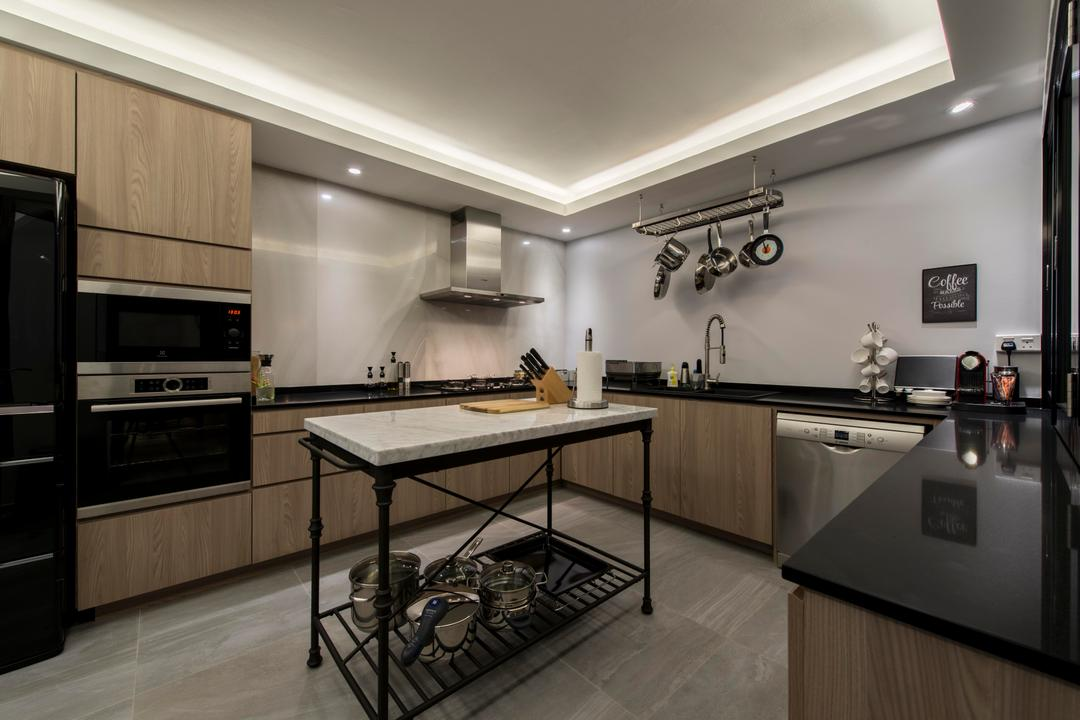 Jurong West, Third Avenue Studio, Contemporary, Kitchen, HDB, Kitchen Island, Counter, Black Counter, Countertop, Pots Rack, Rack, Stove, Oven, Fridge, Brown, Woody, Dark, Kitchen Work Space, Indoors, Interior Design, Room, Appliance, Electrical Device