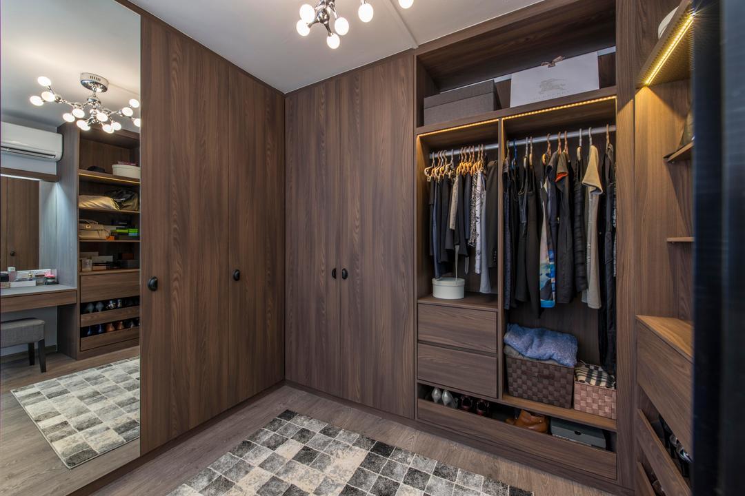 Jurong West, Third Avenue Studio, Contemporary, Bedroom, HDB, Rug, Carpet, Dresser, Closet, Walk In Wardrobe, Dressing Room, Cupboard, Laminate, Mirror, Lamp, Clothes Storage, Organisation, Storage