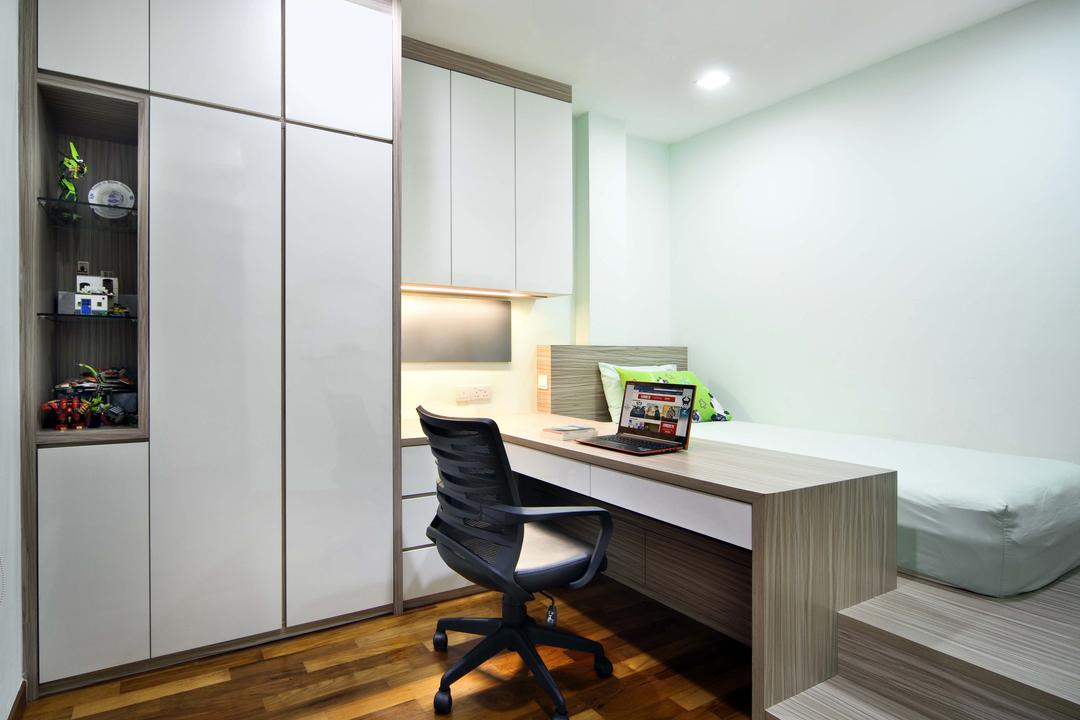 Siang Kuang, Yonder, Traditional, Study, Landed, Platform, Study Desk, Roller Chair, Wardrobe, Down Light, Cabinet, Parquet, Chair, Furniture