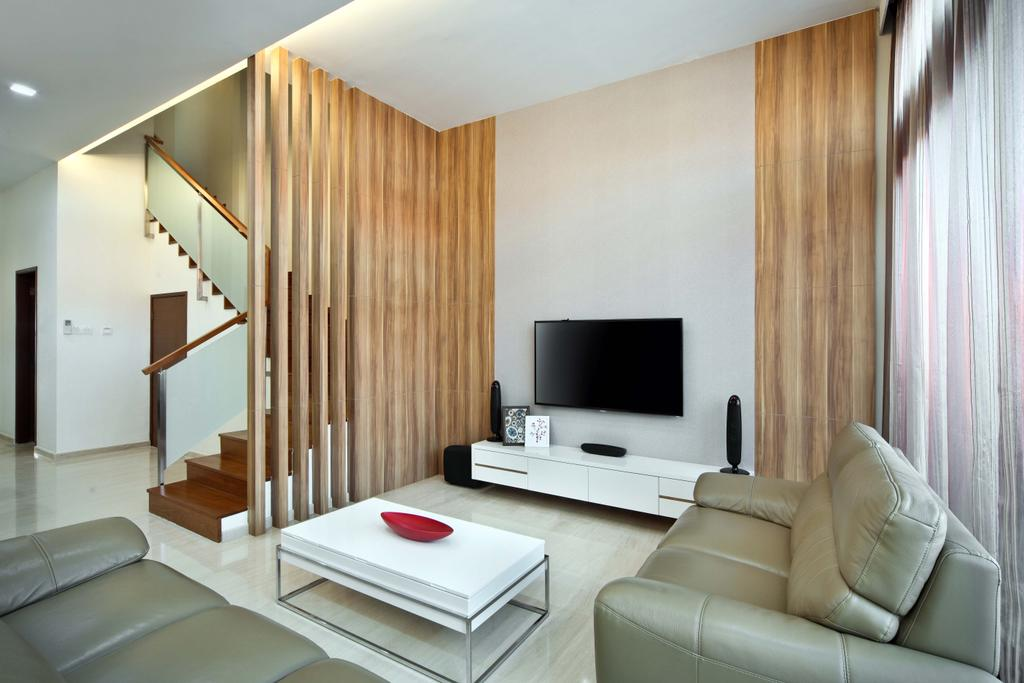 Traditional, Landed, Living Room, Siang Kuang, Interior Designer, Yonder, Pliiars, Partition, Tv, Tv Console, Sofa, Coffee Table, Stairs, Tiles, Couch, Furniture, Indoors, Interior Design, Banister, Handrail