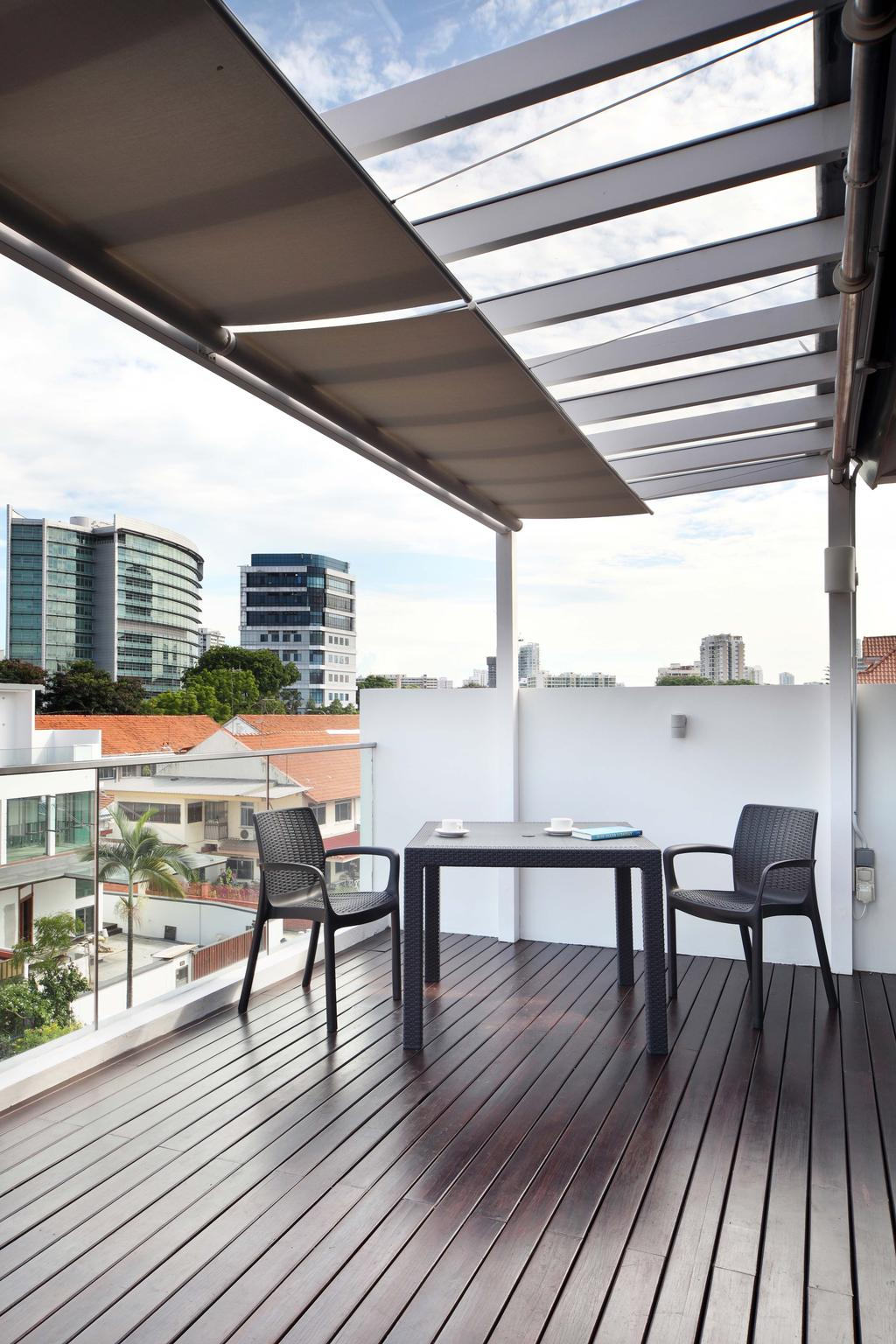 Traditional, Landed, Balcony, Siang Kuang, Interior Designer, Yonder, Wood Floor, Shelter, Chairs, Table, Chair, Furniture, Collage, Poster