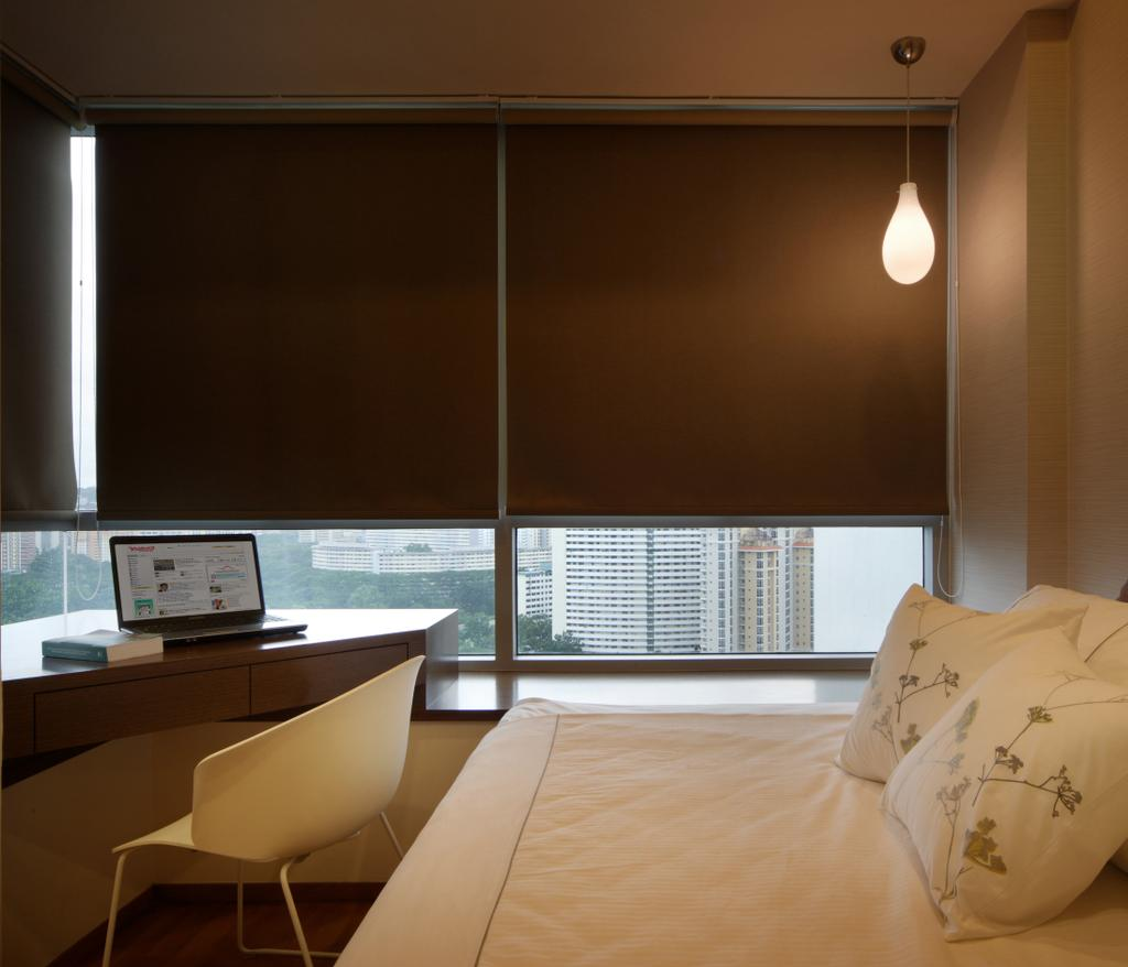 Minimalistic, Condo, Bedroom, Domain 21, Interior Designer, Yonder, Blinds, Bed, Hanging Light, Study Desk, Chair, Couch, Furniture, HDB, Building, Housing, Indoors