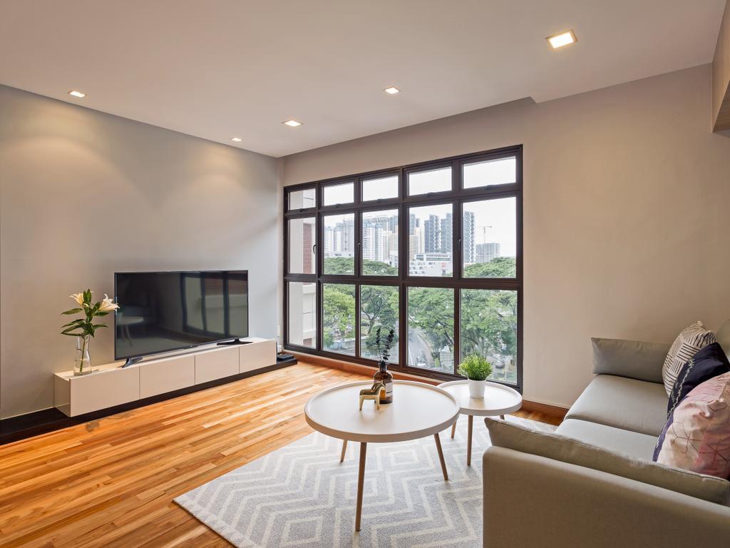 Scandinavian, HDB, Living Room, Redhill Road, Interior Designer, erstudio, Couch, Furniture, Dining Table, Table