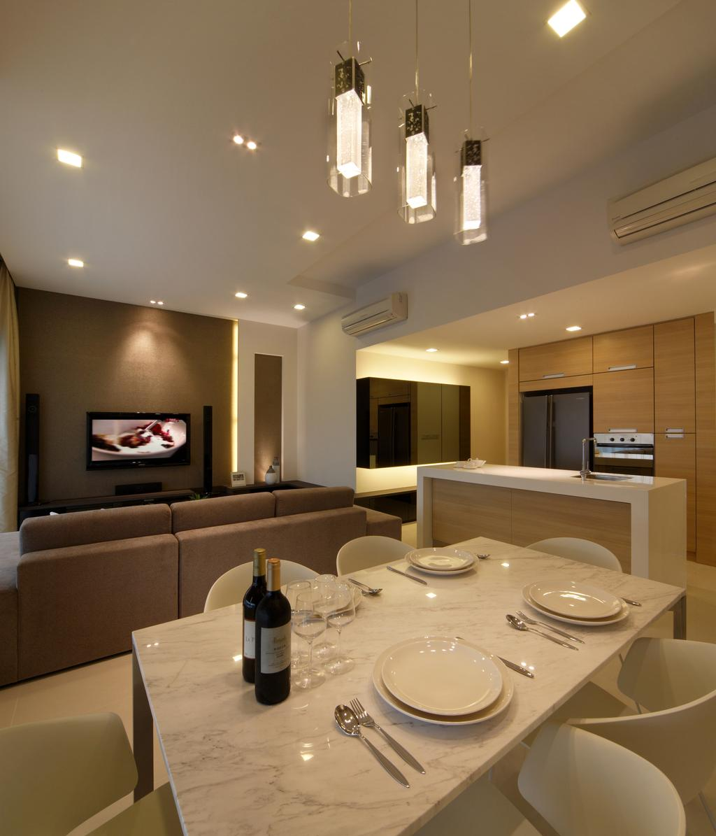 Minimalistic, Condo, Dining Room, Domain 21, Interior Designer, Yonder, Dining Table, Marble Table, Dining Chairs, Tv, Down Light, Cove Light, Sofa, Island, Cabinets, Cupboards, Couch, Furniture, Indoors, Interior Design, Room, Sink