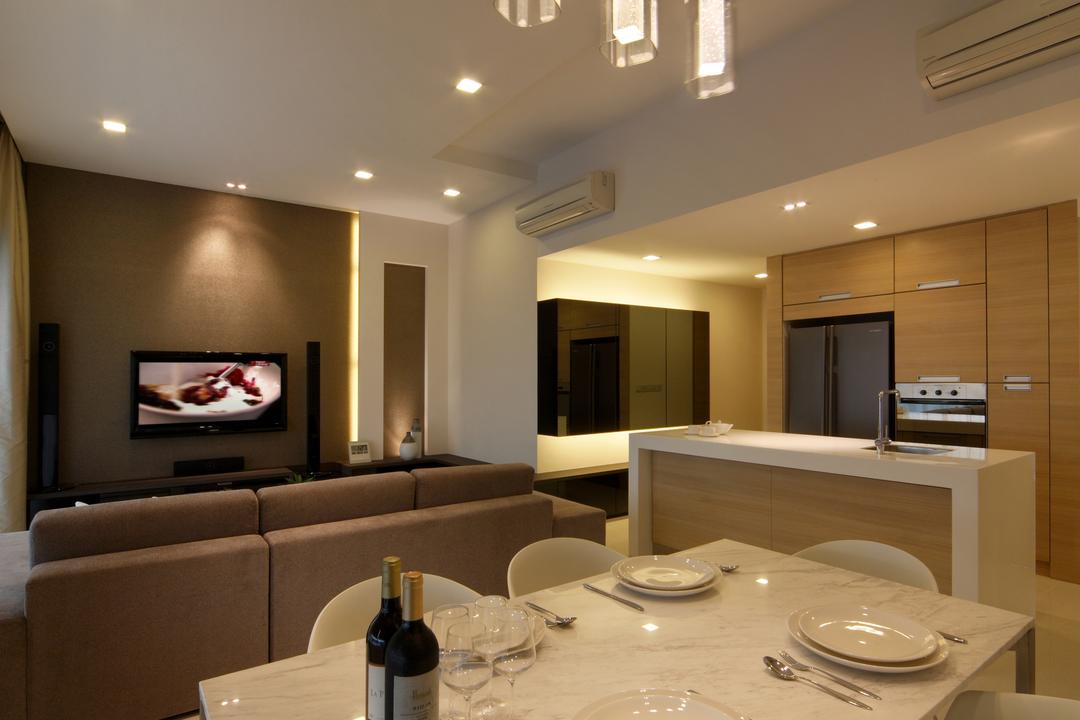 Domain 21, Yonder, Minimalistic, Dining Room, Condo, Dining Table, Marble Table, Dining Chairs, Tv, Down Light, Cove Light, Sofa, Island, Cabinets, Cupboards, Couch, Furniture, Indoors, Interior Design, Room, Sink
