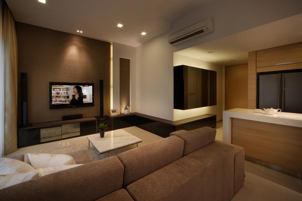 Minimalistic, Condo, Living Room, Domain 21, Interior Designer, Yonder, Modern, Sofa, Tv, Tv Console, Down Light, Cove Light, Tiles, Couch, Furniture, Indoors, Room, Electronics, Entertainment Center, Home Theater