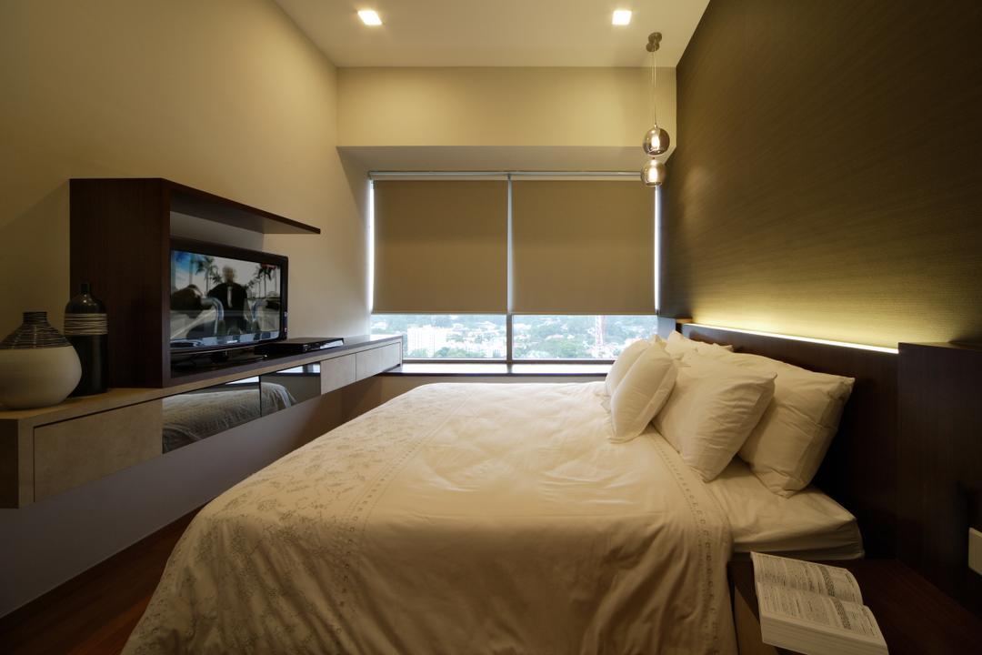 Domain 21, Yonder, Minimalistic, Bedroom, Condo, Blnds, Cove Light, Tv, Tv Concole, Bed, Furniture, Indoors, Room, Interior Design