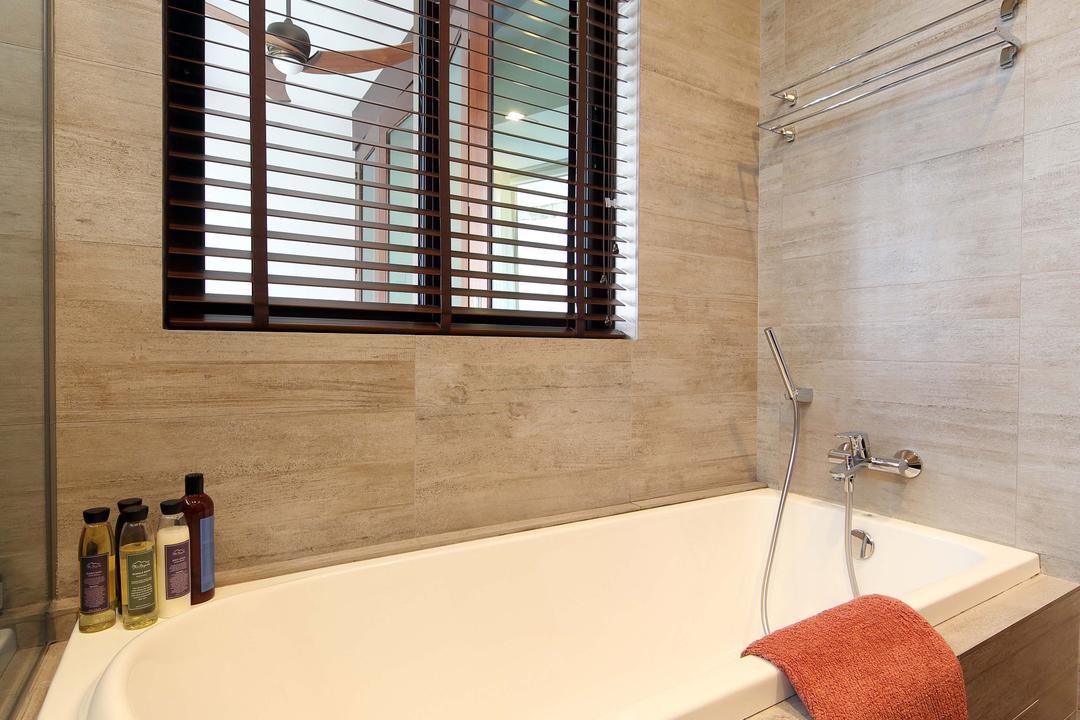 Hillcrest, Yonder, Eclectic, Bathroom, Condo, Bath Tub, Wall Tiles, Floor Tiles, Blinds, Knitting, Bathtub, Tub, Indoors, Interior Design, Room