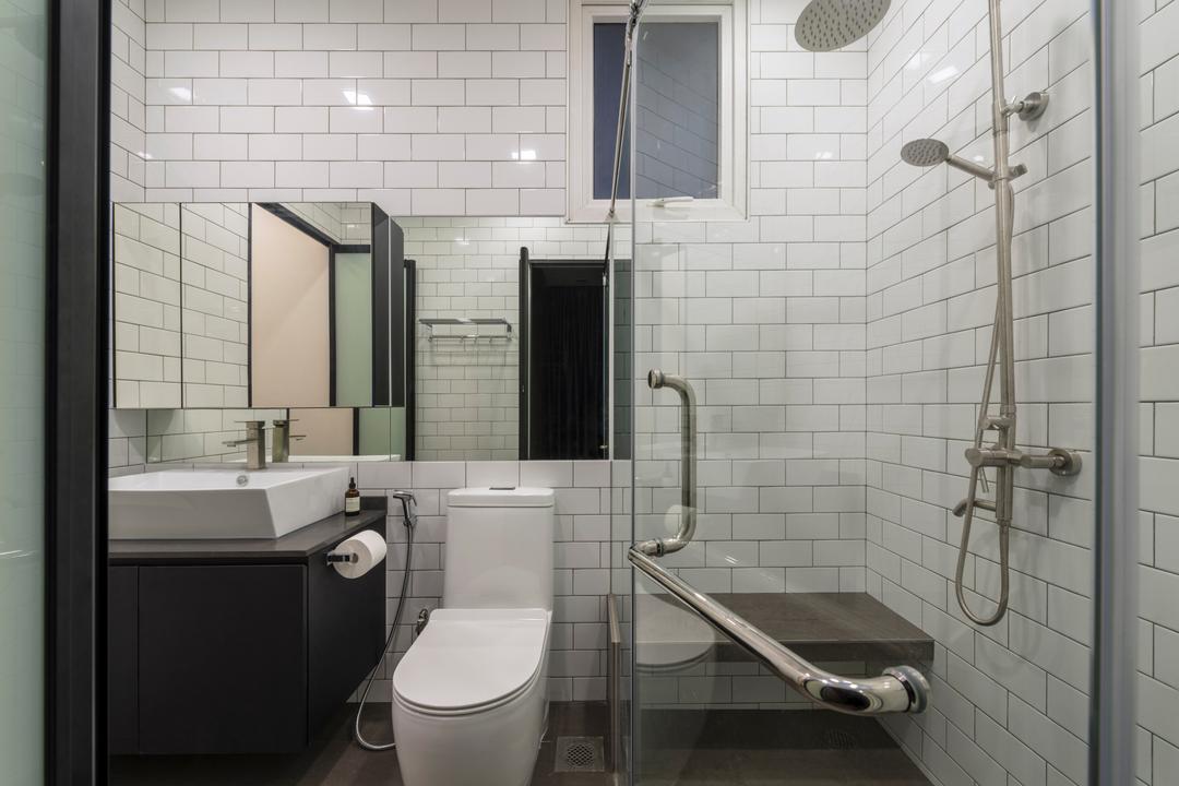 Heritage East, DS 2000 Interior & Design, Modern, Bathroom, Condo, Indoors, Interior Design, Room, Door, Sliding Door, Siding