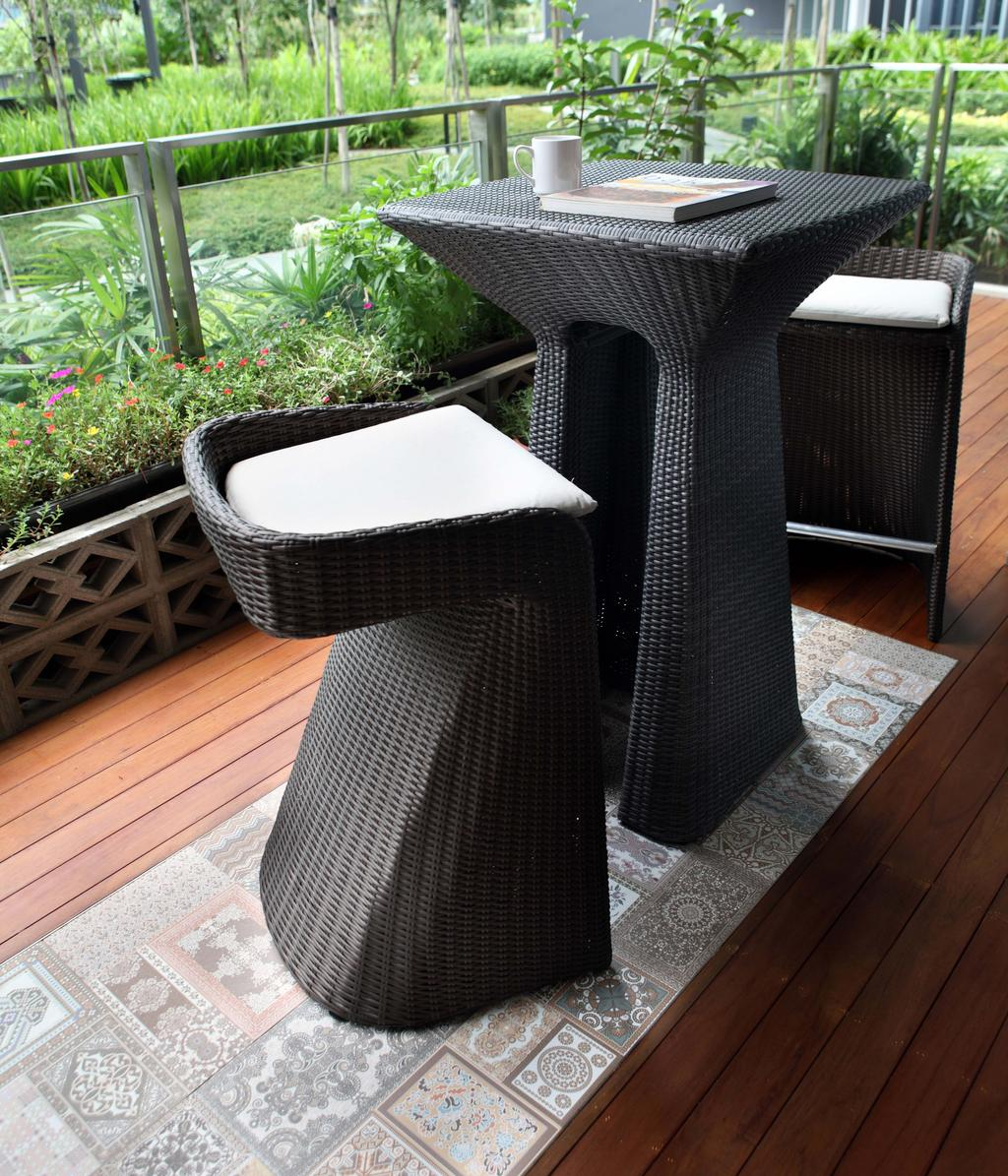 Contemporary, Condo, Balcony, Scala, Interior Designer, Yonder, Bar Table, Bar Chair, Wood Floor, Chair, Furniture, Flora, Jar, Plant, Potted Plant, Pottery, Vase