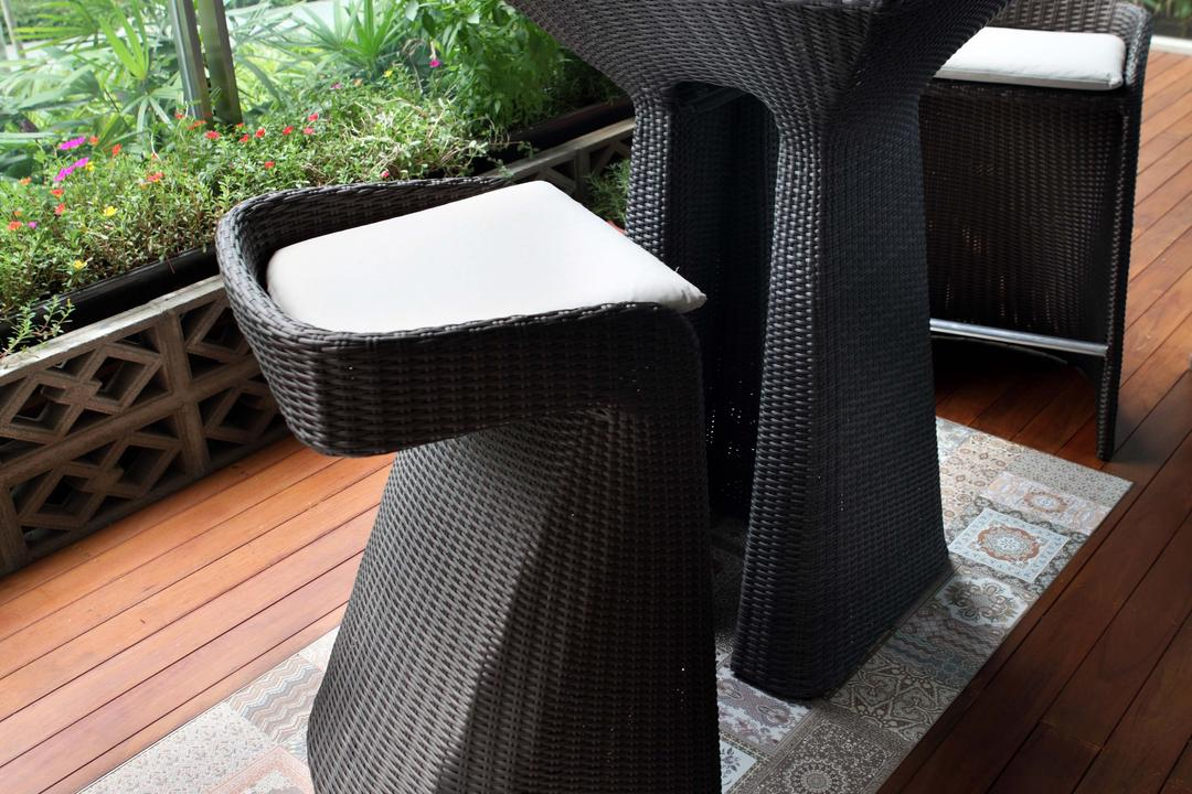 Scala, Yonder, Contemporary, Balcony, Condo, Bar Table, Bar Chair, Wood Floor, Chair, Furniture, Flora, Jar, Plant, Potted Plant, Pottery, Vase
