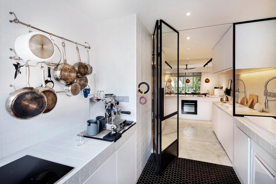 Mono Apartment, UPSTAIRS_, Minimalistic, Contemporary, Kitchen, Condo, Machine, Indoors, Interior Design