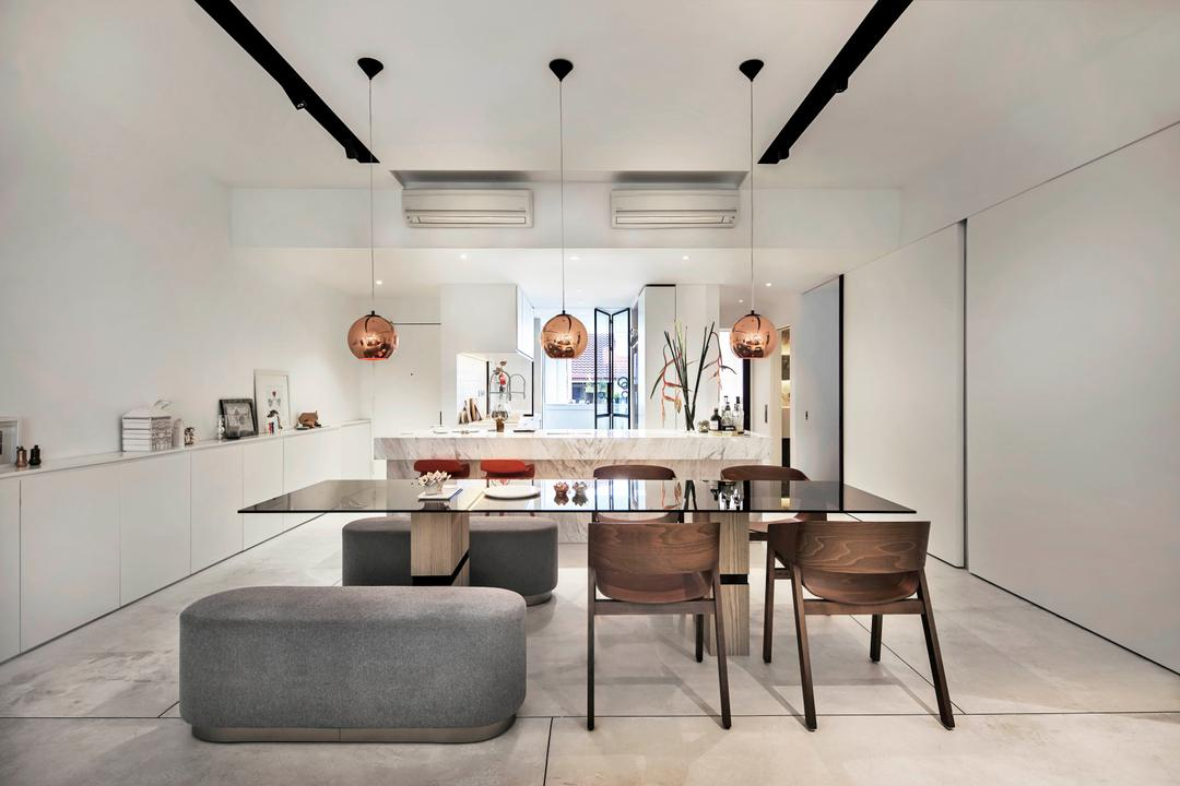 Mono Apartment, UPSTAIRS_, Minimalistic, Contemporary, Dining Room, Condo, Open Kitchen, Open Concept, Open Kitchen Concept, Dining Table, Furniture, Table, Chair, HDB, Building, Housing, Indoors, Loft, Interior Design, Room