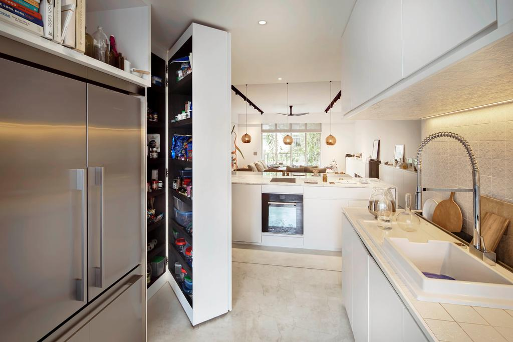 Minimalist, Condo, Kitchen, Mono Apartment, Architect, UPSTAIRS_, Contemporary, Shelf, Indoors, Interior Design, Sink