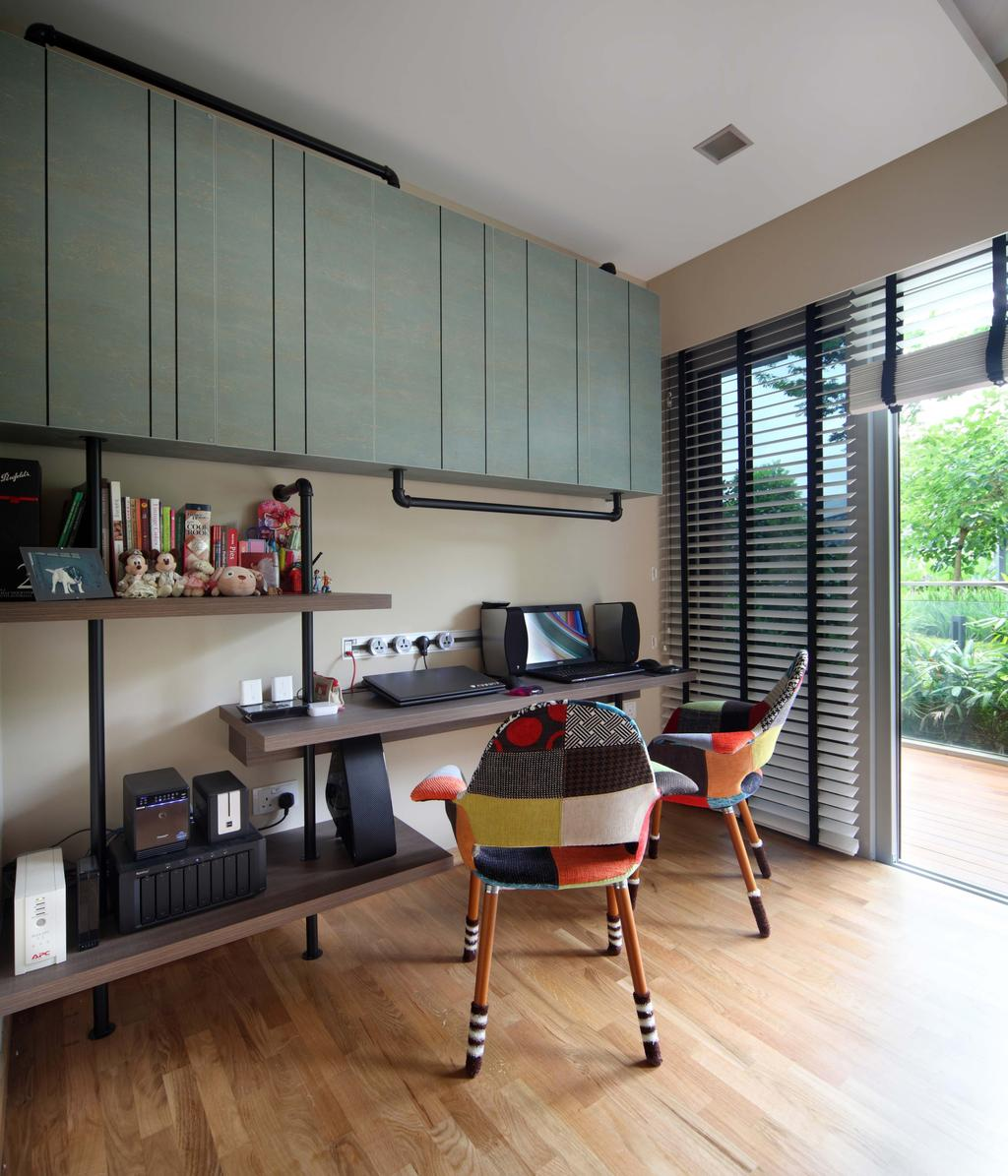 Contemporary, Condo, Study, Scala, Interior Designer, Yonder, Blinds, Wood Floor, Cabinets, Shleving, Study Desk, Chairs, Down Light, Chair, Furniture