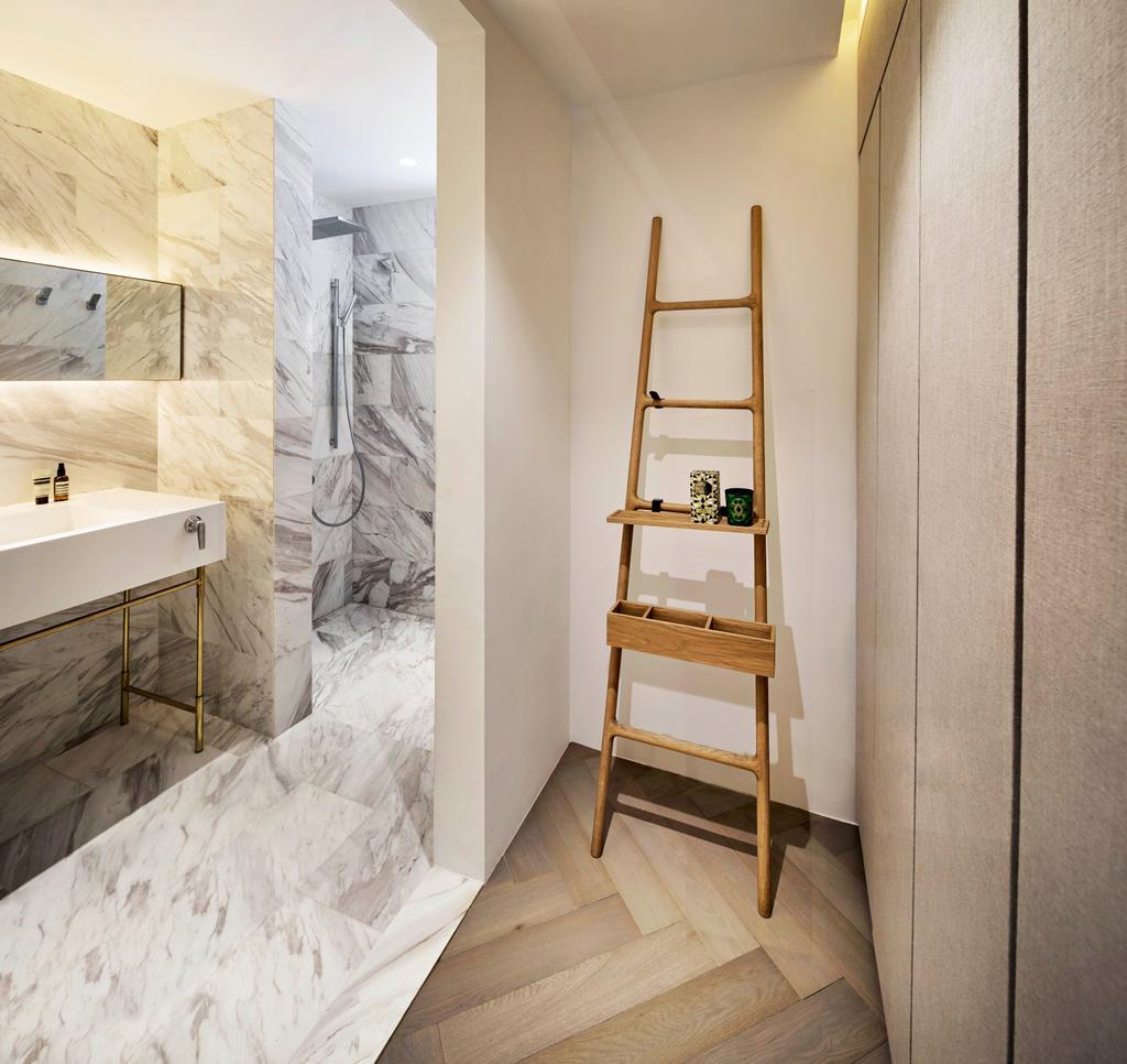 Minimalist, Condo, Bathroom, Mono Apartment, Architect, UPSTAIRS_, Contemporary, Shelf, Art, Drawing, Sketch, Indoors, Interior Design, Room