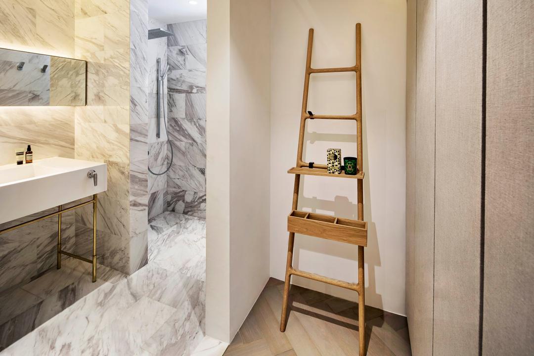 Mono Apartment, UPSTAIRS_, Minimalistic, Contemporary, Bathroom, Condo, Shelf, Art, Drawing, Sketch, Indoors, Interior Design, Room